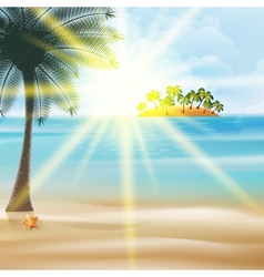 Seaside view poster with palm trees vector image vector image