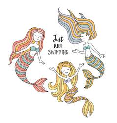 cute little mermaids under the sea vector image vector image