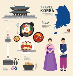 Korea Flat Icons Design Travel Concept vector image