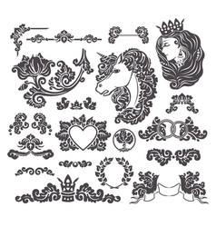 medieval decorative wedding set vector image