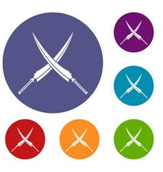 samurai swords icons set vector image vector image