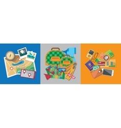 Travel flat design banner set with bag passport vector image