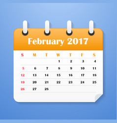 european calendar for february 2017 vector image vector image