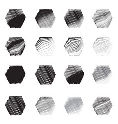geometric hexagon shapes sketch set vector image vector image