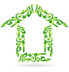 Green home floral on white background vector image vector image