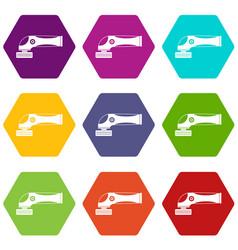 grinder machine icon set color hexahedron vector image vector image