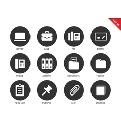 Office icons on white background vector image