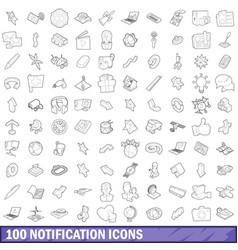 100 notification icons set outline style vector