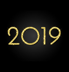 2019 happy new year glitter sparkling card vector image