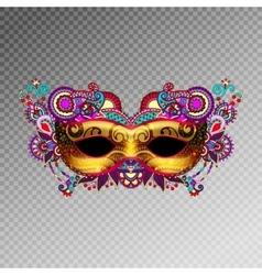 3d gold venetian carnival mask silhouette vector