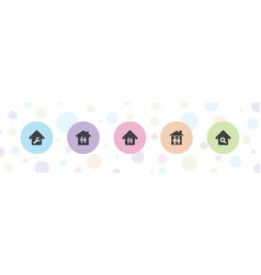 5 housing icons vector