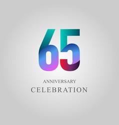 65 year anniversary celebration template design vector