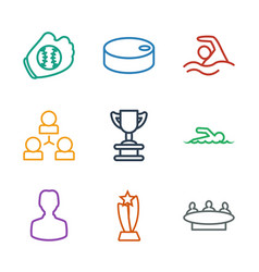 9 team icons vector