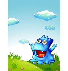 A hilltop with a happy monster looking at the sky vector