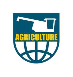 agriculture logo harvest emblem combine harvester vector image