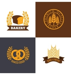 bakery and bread shop logos labels badges vector image