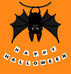 Bat hanging on the tree ring happy halloween vector