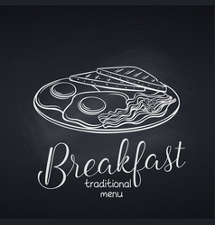 Breakfast with fried eggs vector