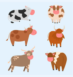 Bulls cows farm animal character vector