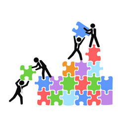Business teams work with jigsaw puzzles vector