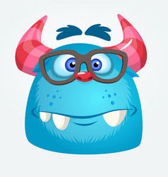 Cartoon monster wearing glasses vector