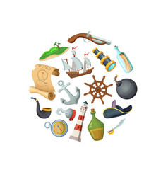 cartoon sea pirates in circle shape vector image