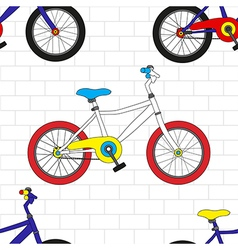 Colorful Bicycle on White Brick Wall vector