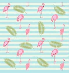 Colorful pink flamingo seamless pattern background vector