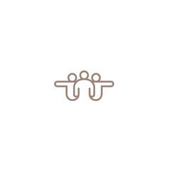 creative three people abstract team logo vector image