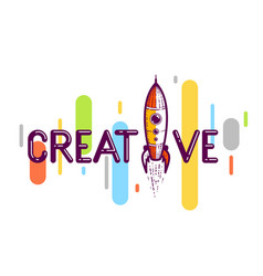 Creative word with rocket instead letter i vector
