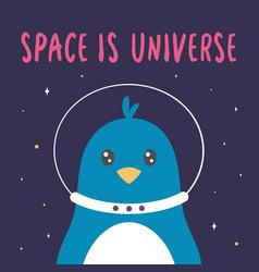 cute astronaut penguin in space vector image