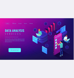 data analysis services landing page vector image