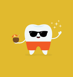 dental on beach tooth with sunglasses and vector image