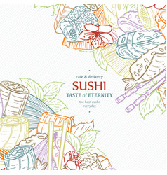 doodle sushi restaurant menu design template vector image