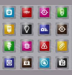Electricity glass icon set vector