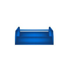 Empty wooden toolbox in blue design vector