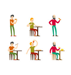 flat eating men set vector image