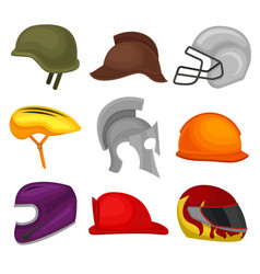 flat set of 9 helmets protective headgear vector image