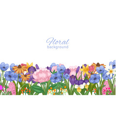 floral background decorated with spring flowers vector image
