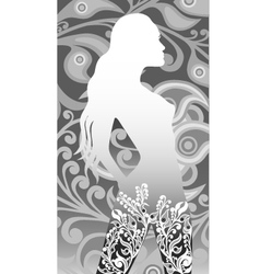 floral silhouette of a girl vector image vector image