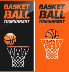 Flyer or web banner design with basketball hoop vector