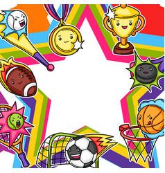 frame with kawaii sport items vector image
