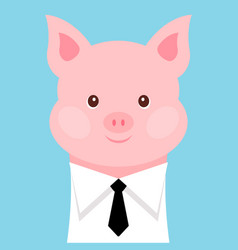 funny pig in a shirt with a tie vector image