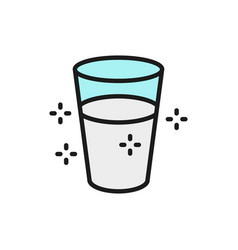 Glass water flat color line icon vector