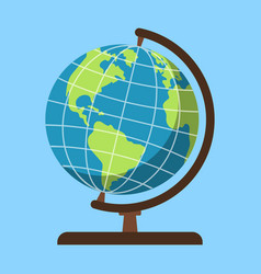 globe on blue background chool supplies vector image