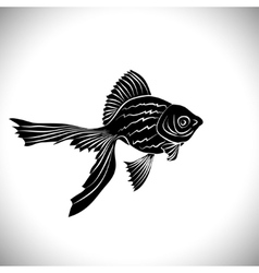Goldfish cards black silhouette vector image