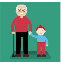 grandfather and grandson stand on a green vector image