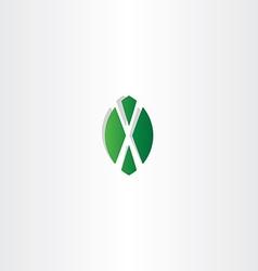 green leaf letter x symbol logo vector image