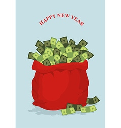 Happy new year Big bag full of money Holiday gift vector image