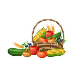 Harvest basket with seasonal vector